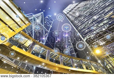 Smart City And Wireless Communication Network On Skyscrapers In Central Hong Kong Background,financi