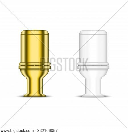 Golden Toilet Bowl And White Ceramic Sanitary Ware For Restroom, Realistic Vector 3d Model Isolated