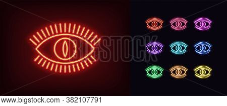 Neon Devil Eye Icon. Glowing Neon Eye Sign With Monster Iris, Evil Vision In Vivid Colors. Mystic Be