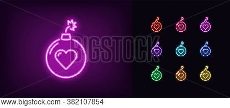 Neon Bomb Icon. Glowing Neon Bomb Sign With Heart, Love Explosion In Vivid Colors. Hit Parade, Top C