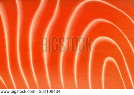 Salmon Or Trout Fish Meat Texture, Vector Background. Raw Orange Textured Flesh Fillet With White St