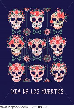 Mexican Traditional Religious Holiday Day Of The Dead Or Dia De Los Muertos In Spanish. Unusual Desi