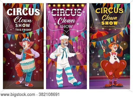 Circus Clowns Comedy Show Vector Banners. Clowns With Face Makeup, Wearing Sailor Suit And Tramp Cos
