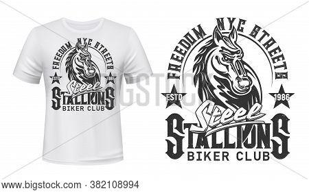 Tshirt Print With Horse Stallion Head. Vector Biker Club Mascot Or Tattoo, White Apparel Or Uniform