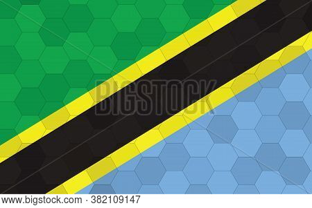 Tanzania Flag Illustration. Futuristic Tanzanian Flag Graphic With Abstract Hexagon Background Vecto