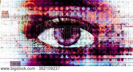 Digital Analytics with Cybernetic Eye as Futurist Concept 3d Render