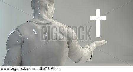 Christian Faith as a Religion of Hope with Cross 3d Render