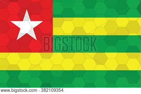 Togo Flag Illustration. Futuristic Togolese Flag Graphic With Abstract Hexagon Background Vector. To