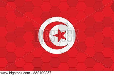 Tunisia Flag Illustration. Futuristic Tunisian Flag Graphic With Abstract Hexagon Background Vector.