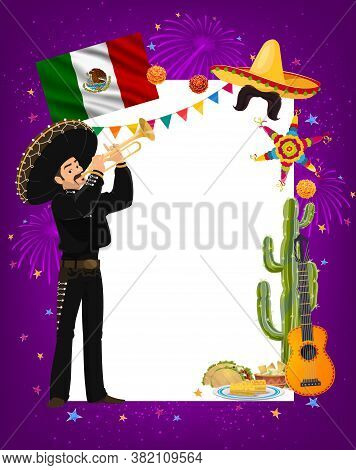 Cinco De Mayo Vector Frame With Mariachi Mexican Musician Character In Sombrero And National Costume