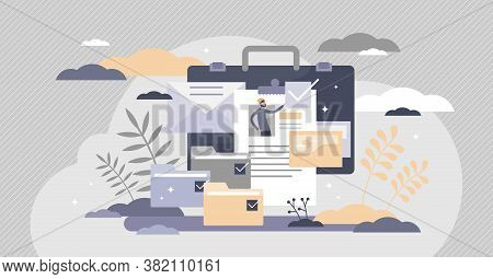 Portfolio With Previous Work Presentation Gallery Collection Tiny Persons Concept. Folder With Job P