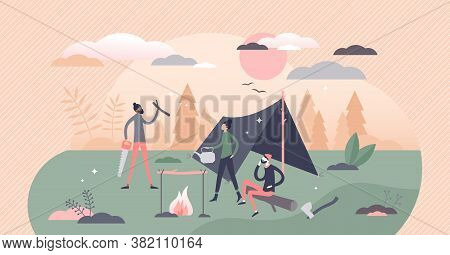 Bushcraft Camping In Outdoors With Tent And Fireplace Tiny Person Concept. Adventure Expedition In W