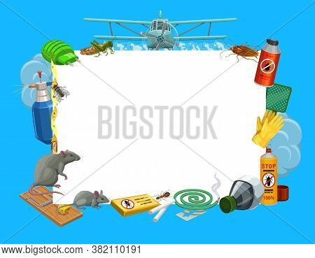 Frame With Insects And Pest Control Tools Vector Fumigator, Locust And Airplane With Cockroach. Dich