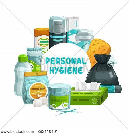 Personal Hygiene, Bathroom And Shower Care Items, Vector Banner. Personal Hygiene And Toiletries, Ba