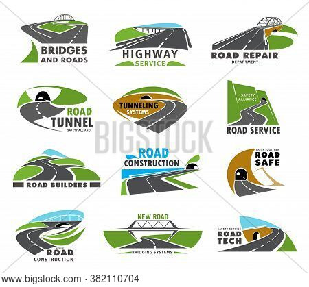 Road Icons, Highway And Way Route Path Or Pathway, Vector Transport Traffic Streets. Road Service, R