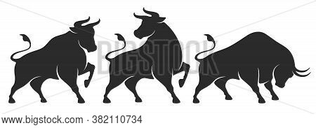 Bull Set. Stylized Silhouettes Of Standing In Different Poses And Butting Up Bulls. Isolated On Whit