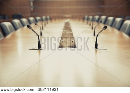 Conference Microphone For Formal Meeting Room Or Boardroom For Corporate Executives.