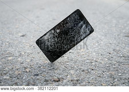 Device Destroyed. Cell Phone Crashed And Scratch. Smash Gadget, Need Repair. Broken, Destroyed, Ruin