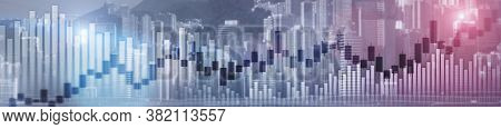 Website Header And Banner Of Hong Kong Cityscape With Skyscarapers. Trading And Stock Markets.