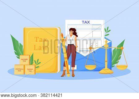 Tax Payment Expert Flat Concept Vector Illustration. Financial Consultant, Economist 2d Cartoon Char