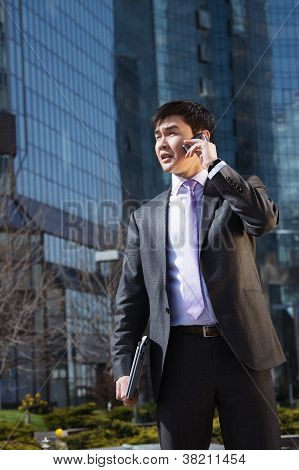 Young businessman talking on mobile phone.