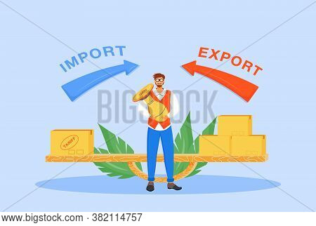 Import And Export Taxes Flat Concept Vector Illustration. Man With Tariff Stamp 2d Cartoon Character