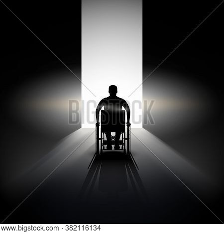 Light At The End Of The Tunnel And Silhouette Of Disabled Man In Wheelchair. Concept Illustration Of