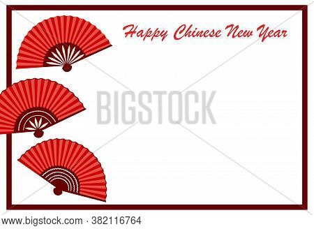 Chinese New Year Greeting Card With Oriental Fans Vector Illustration Isolated.