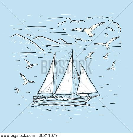 Marine Sketch Hand Drawn Vector Sailboat, Clouds, Seagulls. Vintage Sailing Yacht On The Sea On A Bl