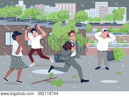 Rainstorm Flat Color Vector Illustration. Stressed People Running From Rainfall 2d Cartoon Character