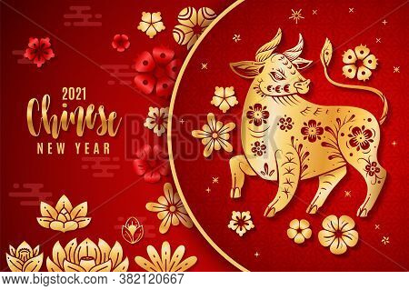 Chinese New Year 2021. Traditional Poster With Red And Gold Ox, Flower Blossom And Traditional Asian