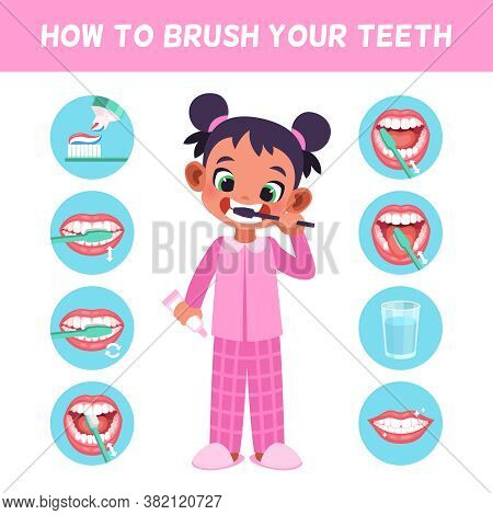 Kid Brush Teeth. Learn Correct Brush Teeth For Children, Cute Girl In Bathroom Morning Hygiene Routi