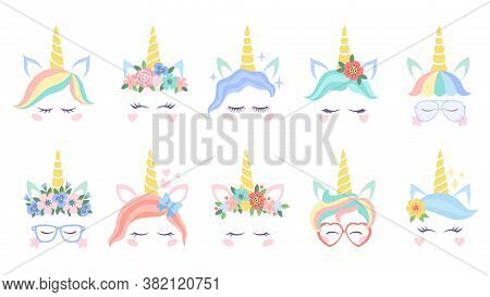 Unicorn Face. Various Cute Pony Unicorns Funny Heads. Magic Horn In Rainbow Flower Wreath In Colorfu