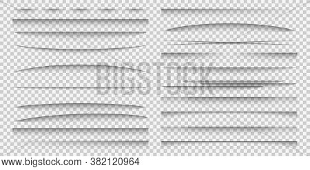 Shadow Overlay Effect. Realistic Different Forms Paper Divider Mockup Set Poster Or Advertising Bann