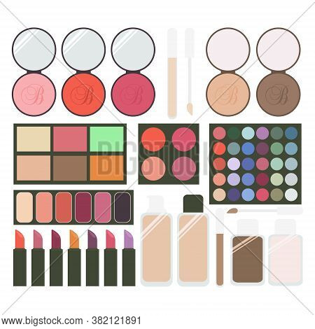 Large Collection Of Cosmetics. Eye Shadow, Blush, Powder, Foundation, Concealer, Lipstick. Set Of Ve