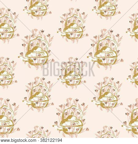 Garden Teapot Seamless Vector Pattern. Painted Teapot In Yellow And White In A Pink Wild Floral Gard