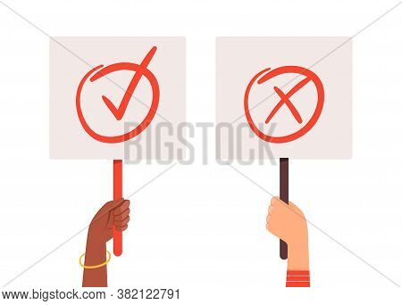 Yes No Banners. Hands Holding Choice Checkmark Plates. Positive Or Negative Posters Vector Illustrat