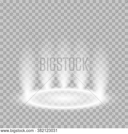 Hologram Teleport Light Effect. Magic Circle Time Travel Portal Glow Vector Effect. Podium Spotlight