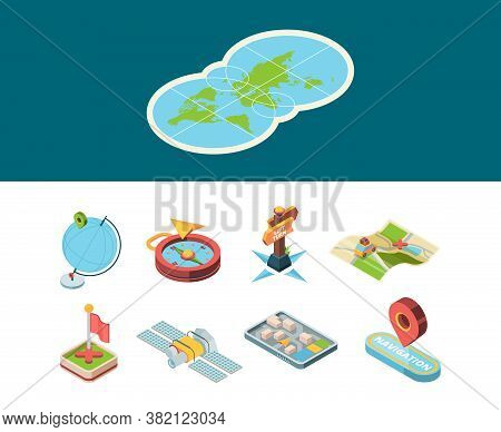 Navigation Isometric Icon. Map Road Smart Navigator And Sign Route Direction Boards Compass And Navi
