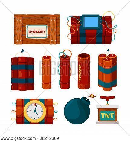 Dynamite Sticks. Risk Dangerous Items Bomb With Clock Alarm And Timer Detonator Explosion Burn Vecto