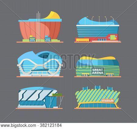Stadium Building. Exterior Of Sport Arena Field Modern International Stadiums Construction Vector Fl