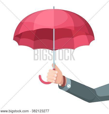 Umbrella In Hand. Concept Picture Businessman Holding Big Umbrella Protection Symbols Vector Flat Ba