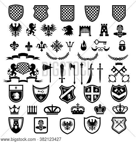 Medieval Badges. Heraldic Emblems Collection With Silhouettes Of Ribbons Knight Weapons Lions Crowns