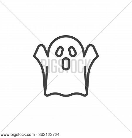 Scary Ghost Line Icon. Linear Style Sign For Mobile Concept And Web Design. Halloween Ghost Outline