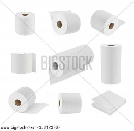 Toilet Paper Realistic. Hygiene Symbols Soft Towel Cylinder Sanitary Paper Vector 3d Templates. Illu