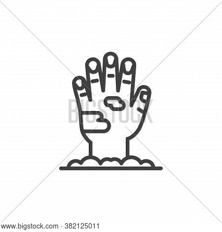 Dirty Hand From Ground Line Icon. Linear Style Sign For Mobile Concept And Web Design. Zombie Hand O