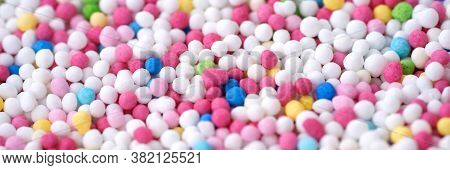 Colorful Eatable Sugar Pearls For Food Decoration. Panoramic Image