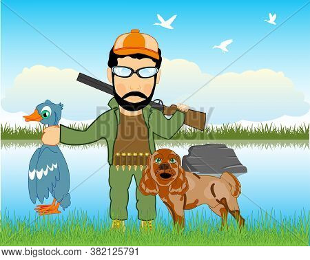 Huntsman On Weft Beside Lake With Dog