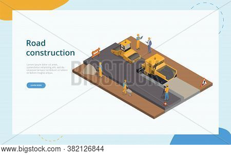 Road Construction And Street Repair Concept. Male Characters Wearing Helmets Doing Road Construction
