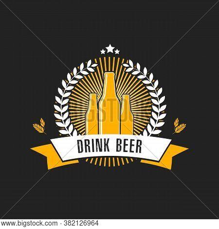 Beer Logo. Pattern For Design Emblem, Icon, Label, Banner. Print On T-shirt Graphics. Design Templat